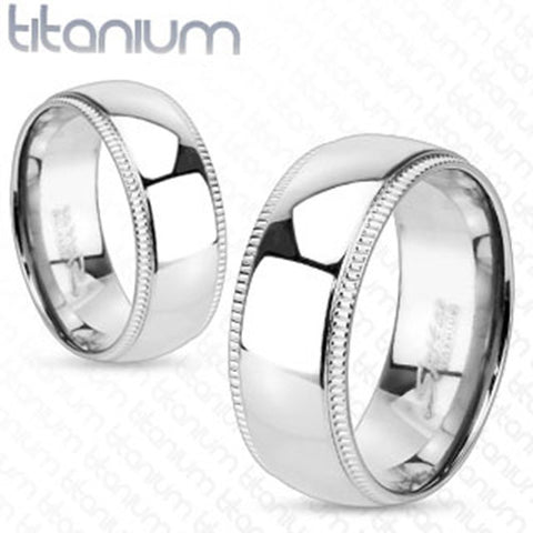 6mm Line Grooved Edge with Dome Center Wedding Band Solid Titanium Women's Ring - Zhannel