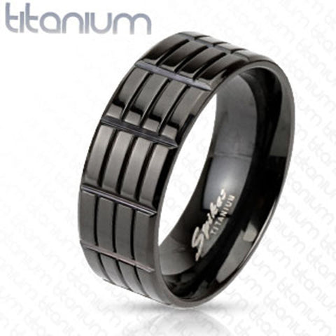 8mm Triple Grooved Solid Titanium Black IP Band Men's Fashion Ring - Zhannel