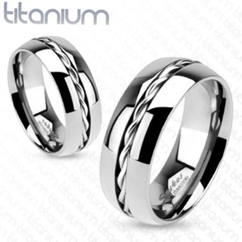 8mm Rope Twist Inlay Center Wedding Band Ring Solid Titanium Men's Ring - Zhannel