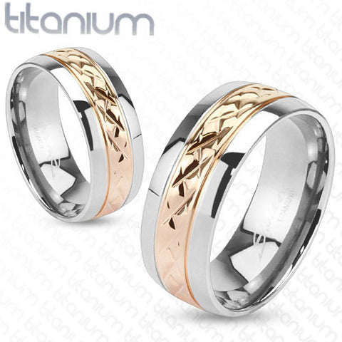 8mm Strip Rose Gold IP Solid Titanium Wedding Band Men's Ring - Zhannel