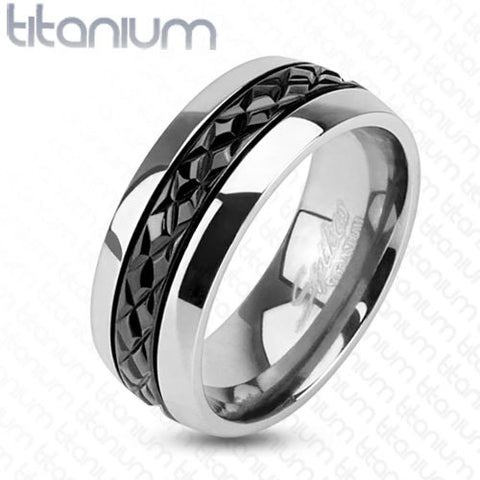 8mm Diagonal Cut Pattern Black IP Centered Ring Titanium Men's Ring - Zhannel
