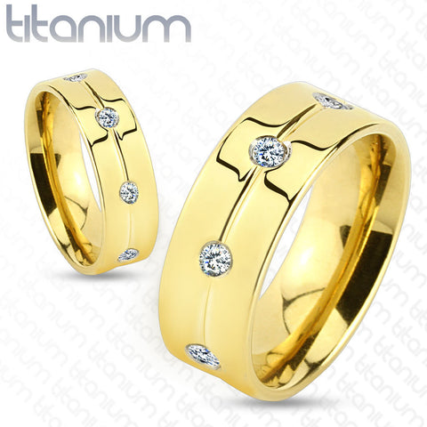 6mm Gold IP with Clear CZ Titanium Ring Wedding Band Women's Ring - Zhannel