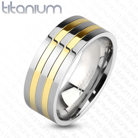 8mm Two Toned Silver and Gold IP Lines Solid Titanium Band Men's Ring - Zhannel