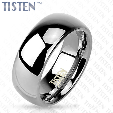 6mm Classic Wedding Band Glossy Mirror Polished Tisten (Tungsten+Titanium) Ring - Zhannel