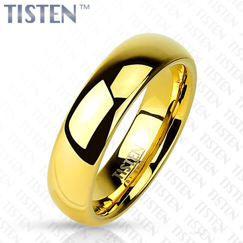6mm Classic Wedding Band Glossy Mirror Polished Gold IP Tisten (Tungsten+Titanium) Ring - Zhannel