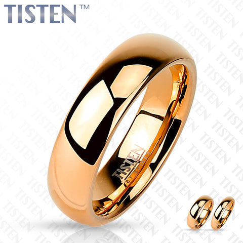6mm Classic Wedding Band Glossy Mirror Polished Rose Gold IP Tisten Women's Ring