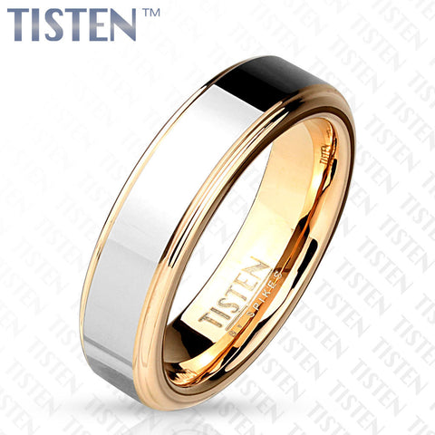 6mm Two Tone Inner Rose Gold IP with Step Edges Tisten (Tungsten+Titanium) Ring - Zhannel