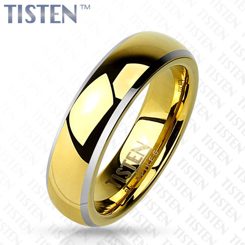 6mm Wedding Band Centered Gold IP Dome Beveled Edge Tisten (Tungsten+Titanium) - Zhannel
