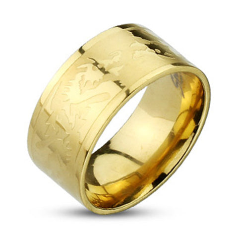 10mm Dragons Etched Gold IP Band Ring 316L Stainless Steel Men's Ring - Zhannel