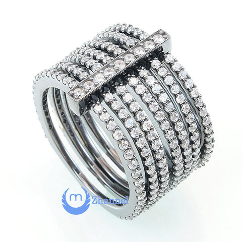 7-in-1 Fashion RINGS Ring Signity CZ CONFLATE RING Rhodium over Sterling Silver - Zhannel  - 1