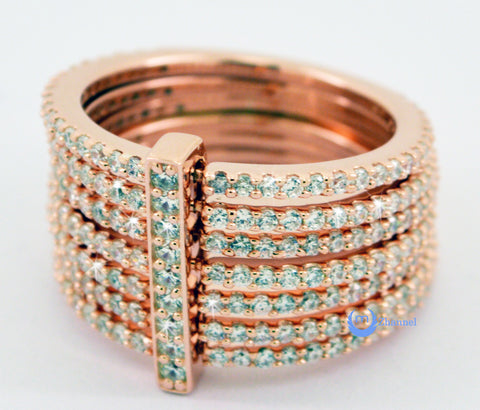 7-in-1 Fashion Ring Signity CZ CONFLATE RING Rose Gold over Sterling Silver - Zhannel  - 1