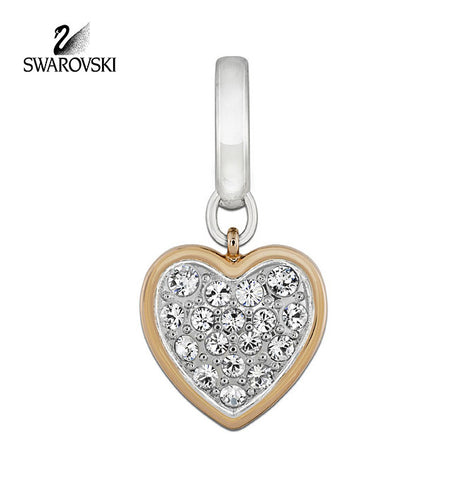Swarovski Clear Crystal HEART Charm Rose Gold /Rhodium Plated #5052540 - Zhannel