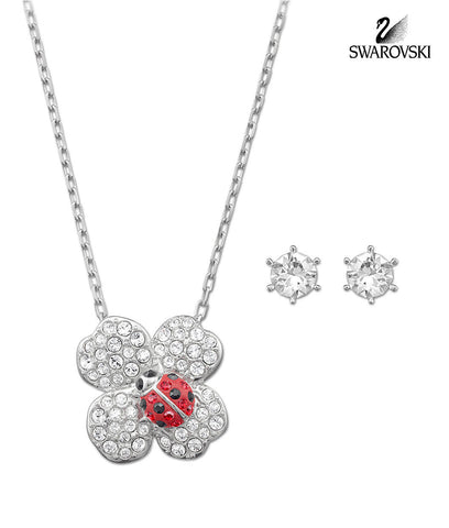 Swarovski Clear/Red Crystal BILLY Set CLOVER Earrings & Necklace #5086250 - Zhannel  - 1
