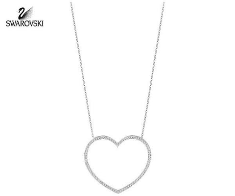 Swarovski Clear Crystal CADMIA Heart Pendant Necklace Rhodium #5117701 - Zhannel  - 1