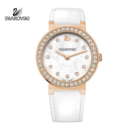 Swarovski Clear Crystal CITRA Sphere Rose Gold Watch White Leather #1185830 - Zhannel  - 1