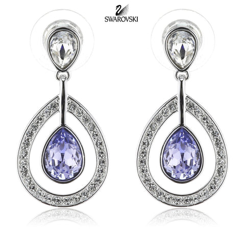 Swarovski Purple Crystal Pierced Earrings MILA Lavender #1126761 - Zhannel  - 1