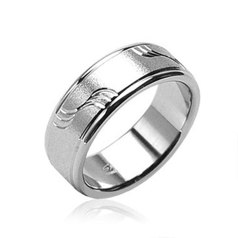 8mm Brushed with Diagonal Cut Waves 316L Surgical Stainless Steel Ring Men's Band - Zhannel