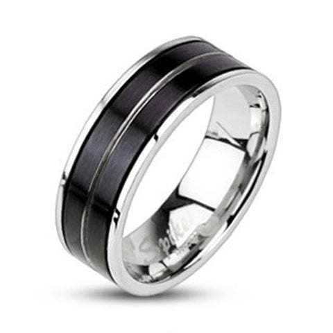 7mm Stripe Black IP 316L Stainless Steel Ring Men's Wedding Band - Zhannel
