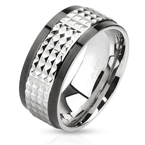 Spiked Center Two Toned Spinner Men's 9mm Band Ring Stainless Steel - Zhannel