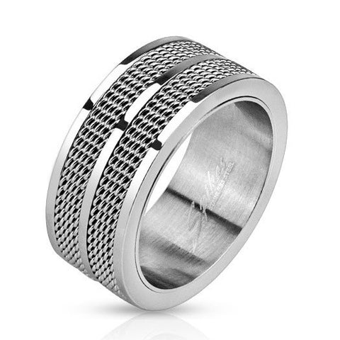 Double Line Mesh Screen 9mm Band Men's Ring Stainless Steel - Zhannel