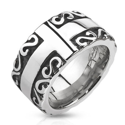 Cross with Tribal Patterned Edge Cast 12.5mm Band Men's Ring Stainless Steel - Zhannel
