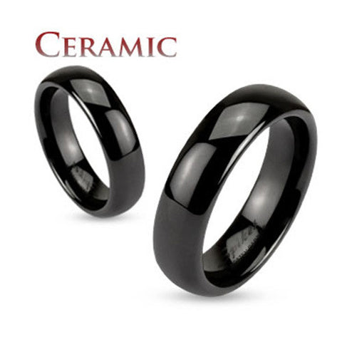 Black Ceramic Dome 6mm Traditional Wedding Band Men's Ring - Zhannel