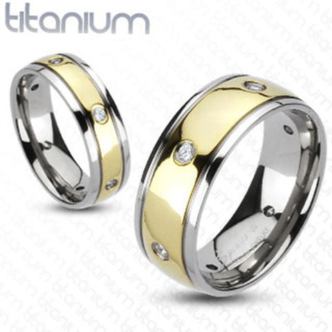 Multi-CZs Gold IP Center Dome Wedding Band 8mm Men's Ring Solid Titanium - Zhannel