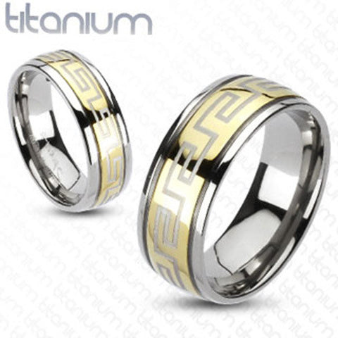 Maze Design Grooved Gold IP Men's Band 8mm Ring Solid Titanium - Zhannel