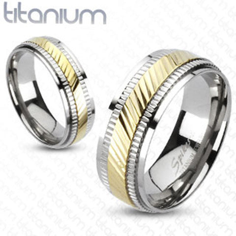 Diagonal Cut Gold IP Center Milled Edges 2-Tone Men's Band 8mm Ring Titanium - Zhannel