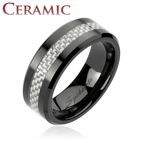 Silver Carbon Fiber Center Black Ceramic Ring 8mm Men's Wedding Band - Zhannel