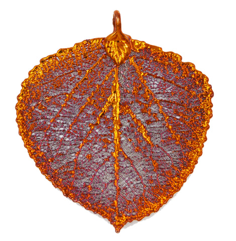 Real Leaf ASPEN Pendant Dipped in Copper - Zhannel  - 1