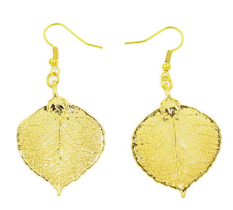 Real Leaf Hook Drop Earrings ASPEN Dipped in 24K Yellow Gold - Zhannel  - 1