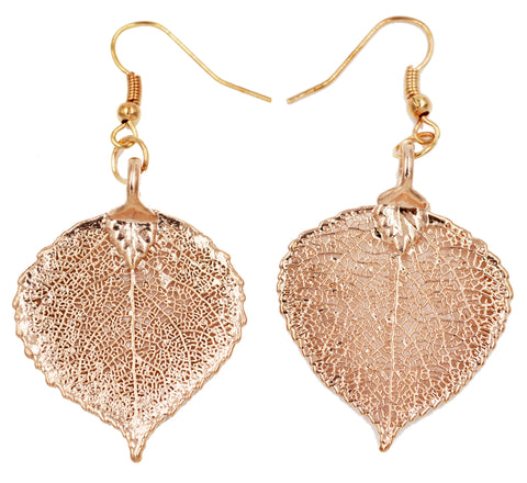 Real Leaf Hook Drop Earrings ASPEN Dipped in Rose Gold - Zhannel  - 1