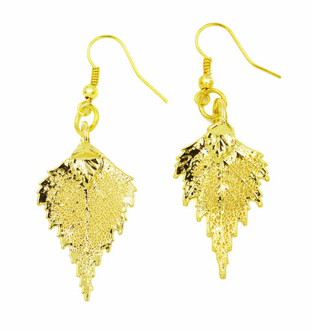 Real Leaf Hook Drop EARRINGS BIRCH Leaf Dipped in 24K Yellow Gold - Zhannel  - 1
