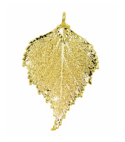 Real Leaf PENDANT BIRCH Dipped in 24K Yellow Gold - Zhannel  - 1