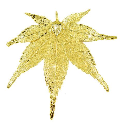 Real Leaf PENDANT Japanese Maple in 24K Yellow Gold Genuine Leaf - Zhannel  - 1