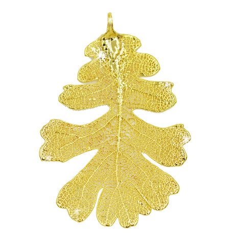 Real Leaf PENDANT Lacey OAK in 24K Yellow Gold Genuine Leaf - Zhannel  - 1