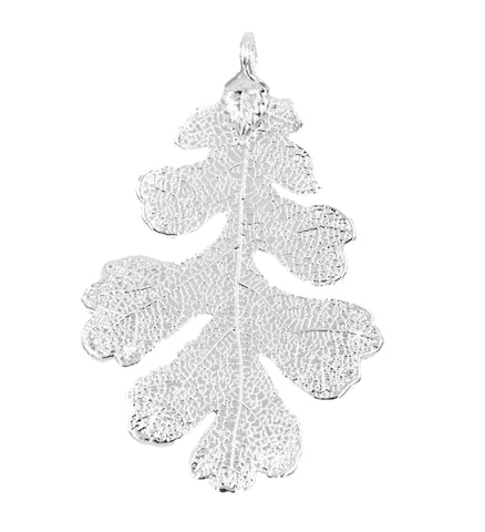 Real Leaf PENDANT Lacey OAK Dipped in Silver Genuine Leaf - Zhannel  - 1