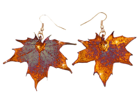 Real Leaf Hook Drop EARRINGS Sugar Maple in Iridescent Copper - Zhannel  - 1