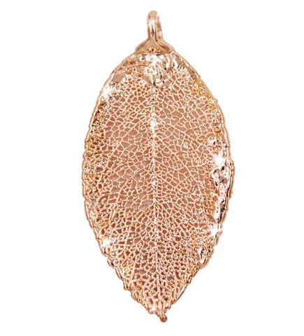 Real Leaf PENDANT ROSE Genuine LEAF Dipped in Rose Gold - Zhannel  - 1