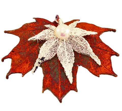 Real Leaf PENDANT Japanese / Sugar Maple Leaves in Silver/Copper w/Pearl - Zhannel  - 1