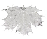 "Real Leaf Christmas ORNAMENT Sugar Maple 4"" Dipped in Sterling Silver - Zhannel  - 1"