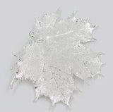 "Real Leaf Christmas ORNAMENT Sugar Maple 4"" Dipped in Sterling Silver - Zhannel  - 2"