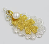 Real Leaf PENDANT Lacey OAK 24K Yellow Gold/ Silver Dipped w/Pearl - Zhannel  - 2