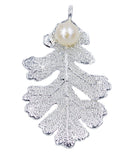Real Leaf PENDANT Lacey OAK in Sterling Silver w/Freshwater Pearl - Zhannel  - 1