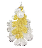 Real Leaf PENDANT Lacey OAK 24K Yellow Gold/ Silver Dipped w/Pearl - Zhannel  - 1