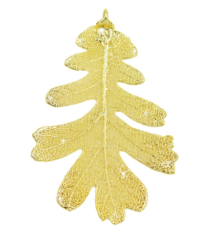 "Real Leaf Christmas ORNAMENT Lacey OAK 3"" Dipped in 24K Yellow Gold - Zhannel  - 1"
