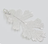 "Real Leaf Christmas ORNAMENT Lacey OAK 3"" Dipped in Sterling Silver - Zhannel  - 2"