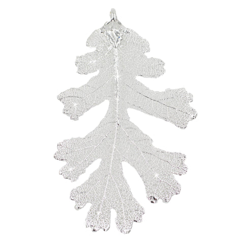 "Real Leaf Christmas ORNAMENT Lacey OAK 3"" Dipped in Sterling Silver - Zhannel  - 1"