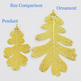 "Real Leaf Christmas ORNAMENT Lacey OAK 3"" Dipped in 24K Yellow Gold - Zhannel  - 3"